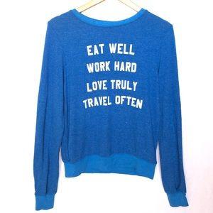 Wildfox Eat Well Work Hard Travel Often Blue XS